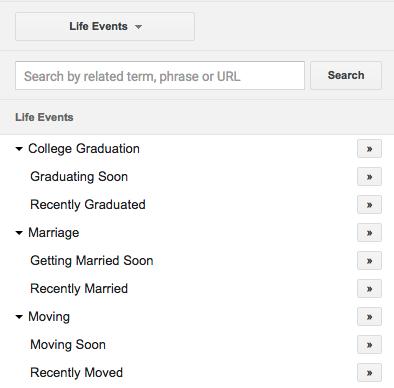 google life events targeting