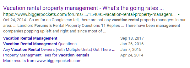 vacation rental management forum search result