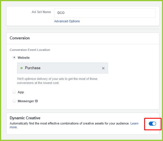 facebook dco set up