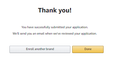Amazon Brand Registration Submission Confirmation Email