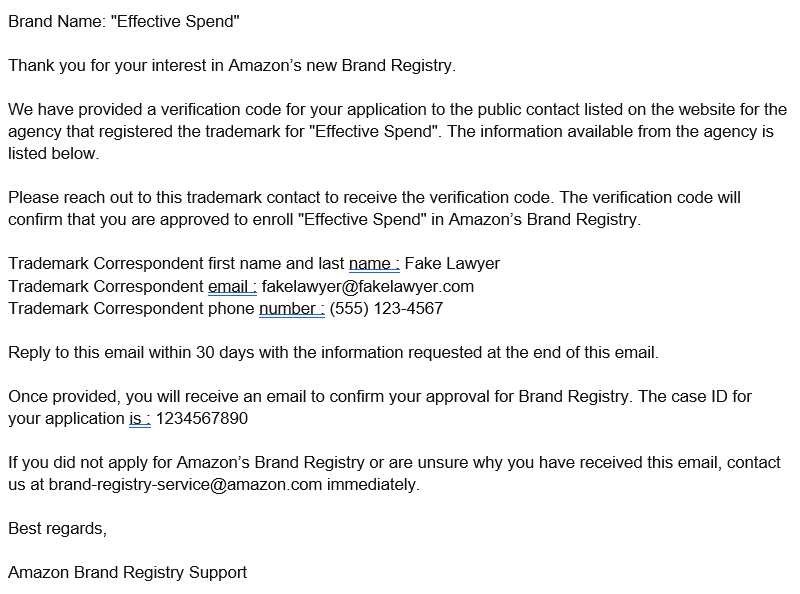 Amazon Brand Registry Trademark Contact Info