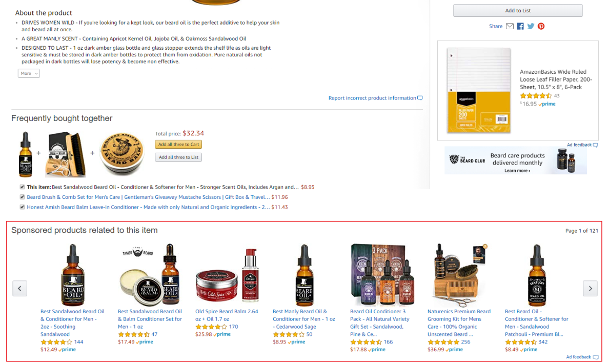 Amazon Sponsored Product Ads on Product Detail Page