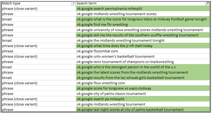 Voice Search Search Terms Phrase Match