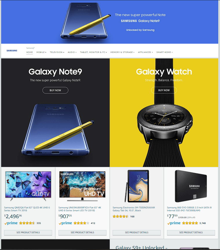 Amazon Store Page Samsung