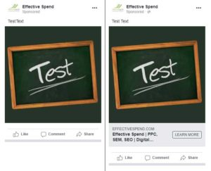 Facebook Ads with and without a Link