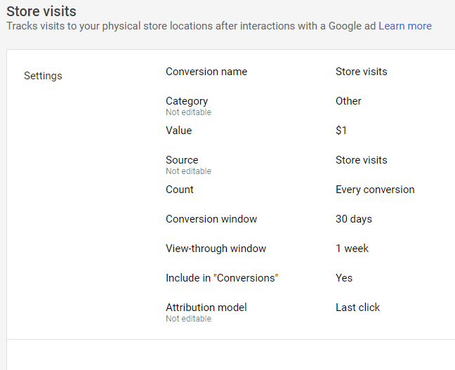 Google Store Visits