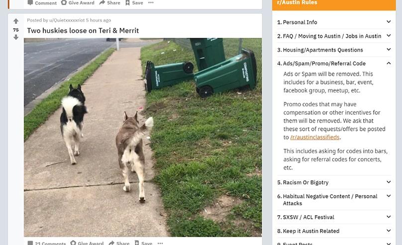 Austin Subreddit Rules Example