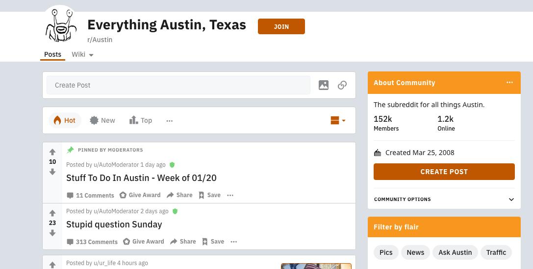 Subreddit Example