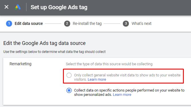 Google Ads Remarketing Settings