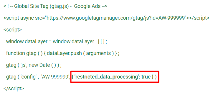 Google Ads restricted_data_processing code