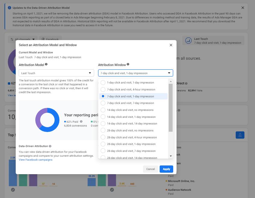Facebook Attribution Tool Interface