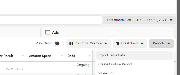 Facebook Historical Data Export