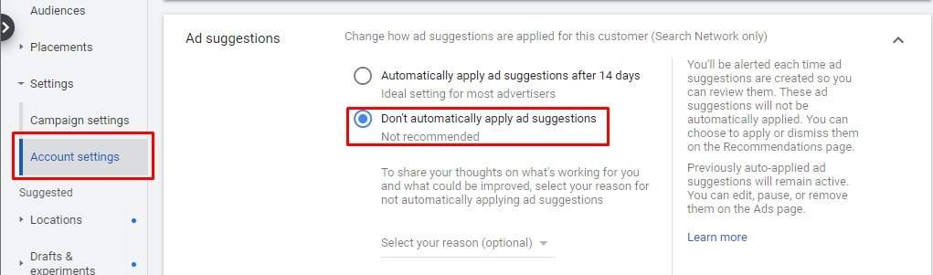 Ad Suggestions Auto Apply